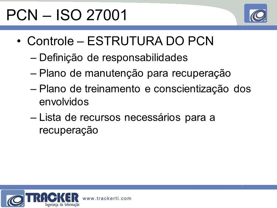 PCN – ISO 27001 Controle – ESTRUTURA DO PCN