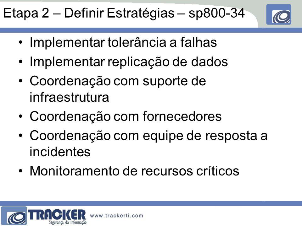 Etapa 2 – Definir Estratégias – sp800-34