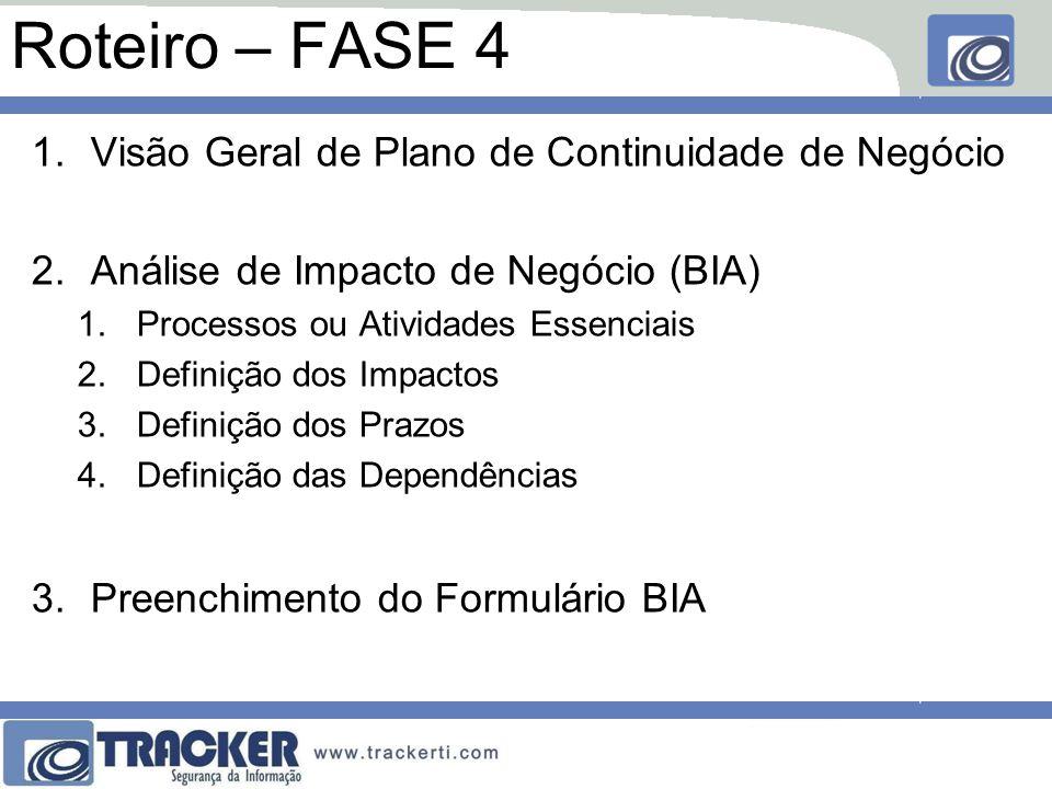Roteiro – FASE 4 Visão Geral de Plano de Continuidade de Negócio