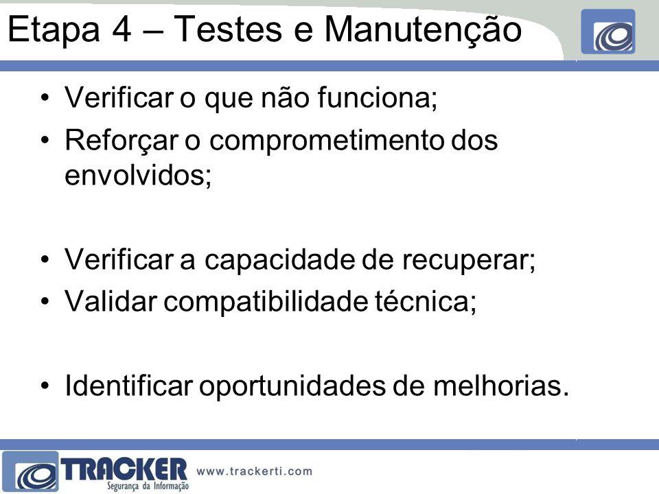 Etapa 4 – Testes e Manutenção