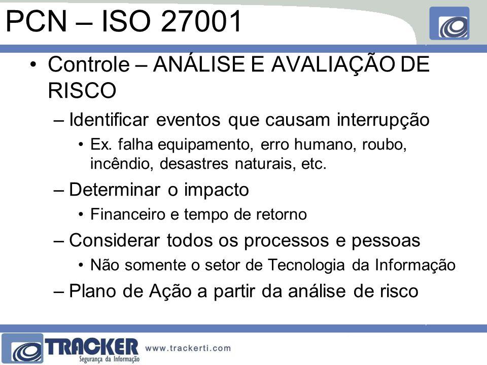 PCN – ISO 27001 Controle – ANÁLISE E AVALIAÇÃO DE RISCO