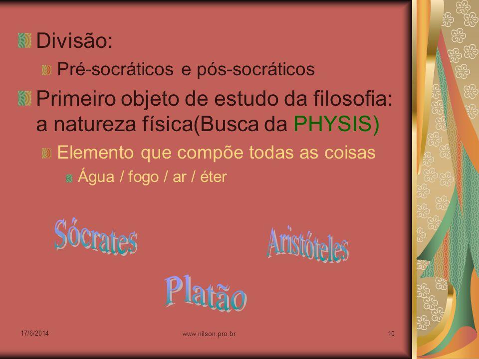 Sócrates Aristóteles Platão Divisão: