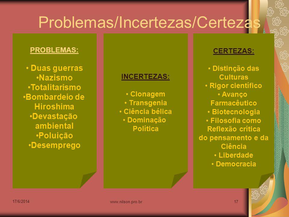 Problemas/Incertezas/Certezas