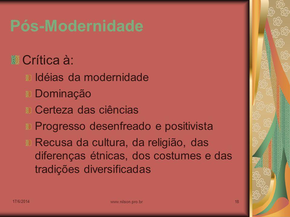 Pós-Modernidade Crítica à: Idéias da modernidade Dominação