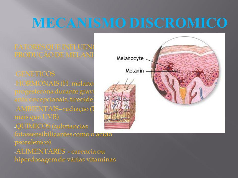MECANISMO DISCROMICO FATORES QUE INFLUENCIAM A PRODUÇÃO DE MELANINA