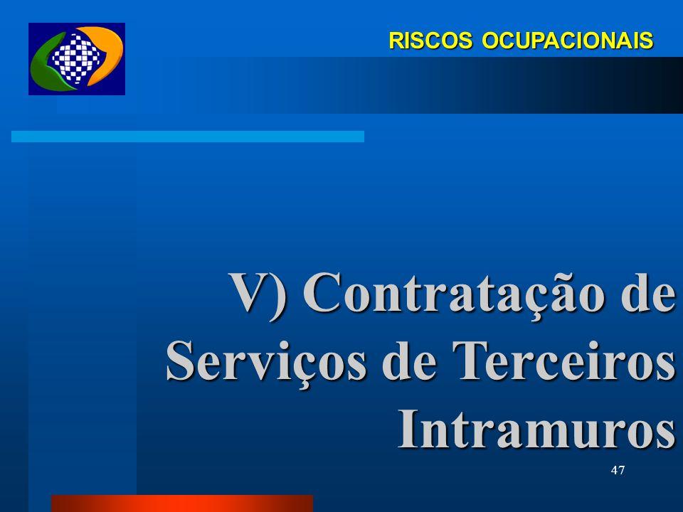 V) Contratação de Serviços de Terceiros Intramuros