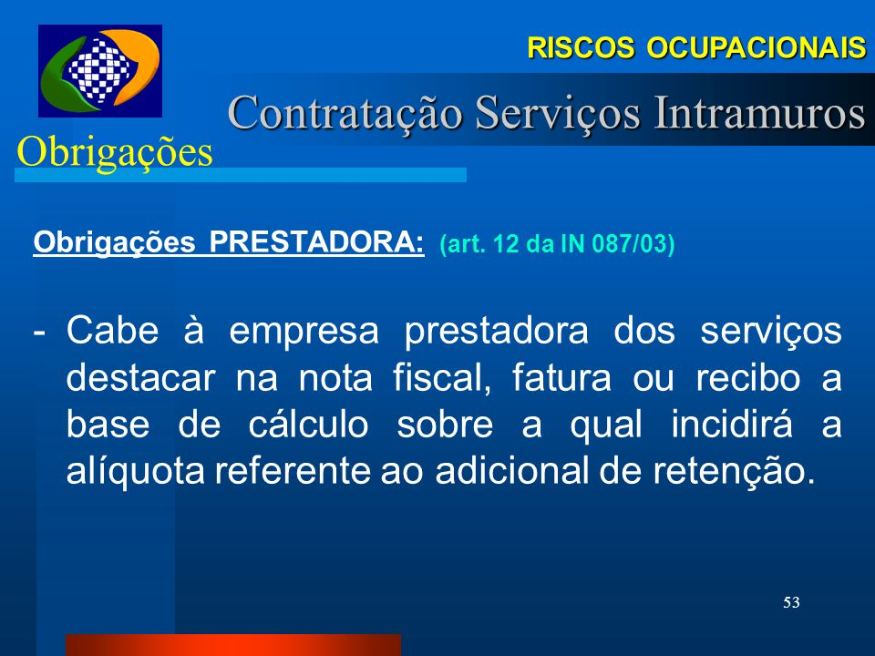 Contratação Serviços Intramuros