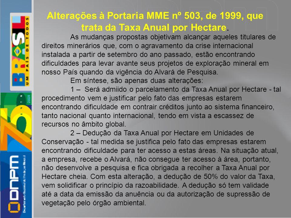 Alterações à Portaria MME nº 503, de 1999, que trata da Taxa Anual por Hectare.