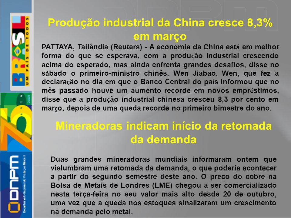 Produção industrial da China cresce 8,3% em março