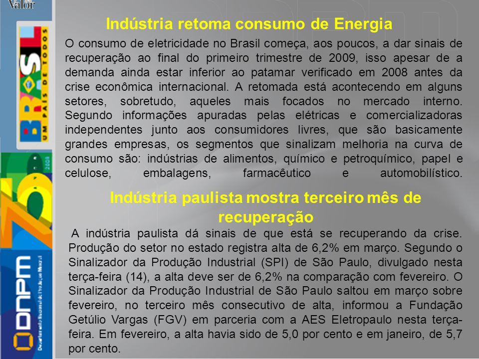 Indústria paulista mostra terceiro mês de recuperação
