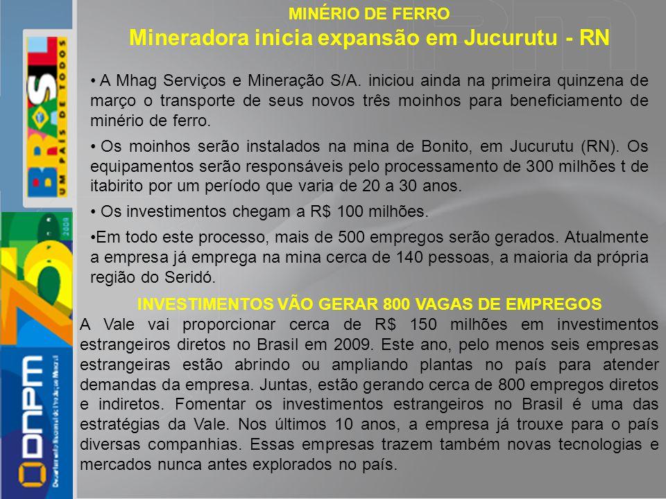INVESTIMENTOS VÃO GERAR 800 VAGAS DE EMPREGOS
