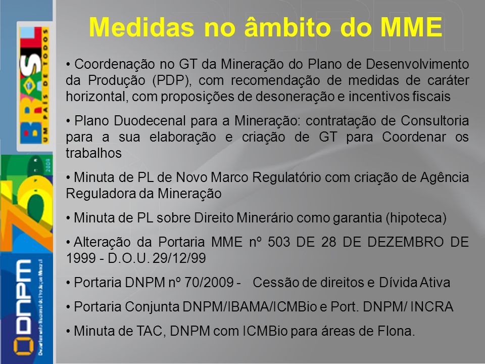 Medidas no âmbito do MME