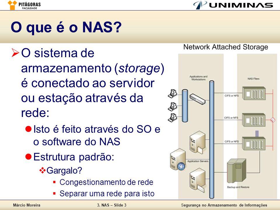 O que é o NAS O sistema de armazenamento (storage) é conectado ao servidor ou estação através da rede: