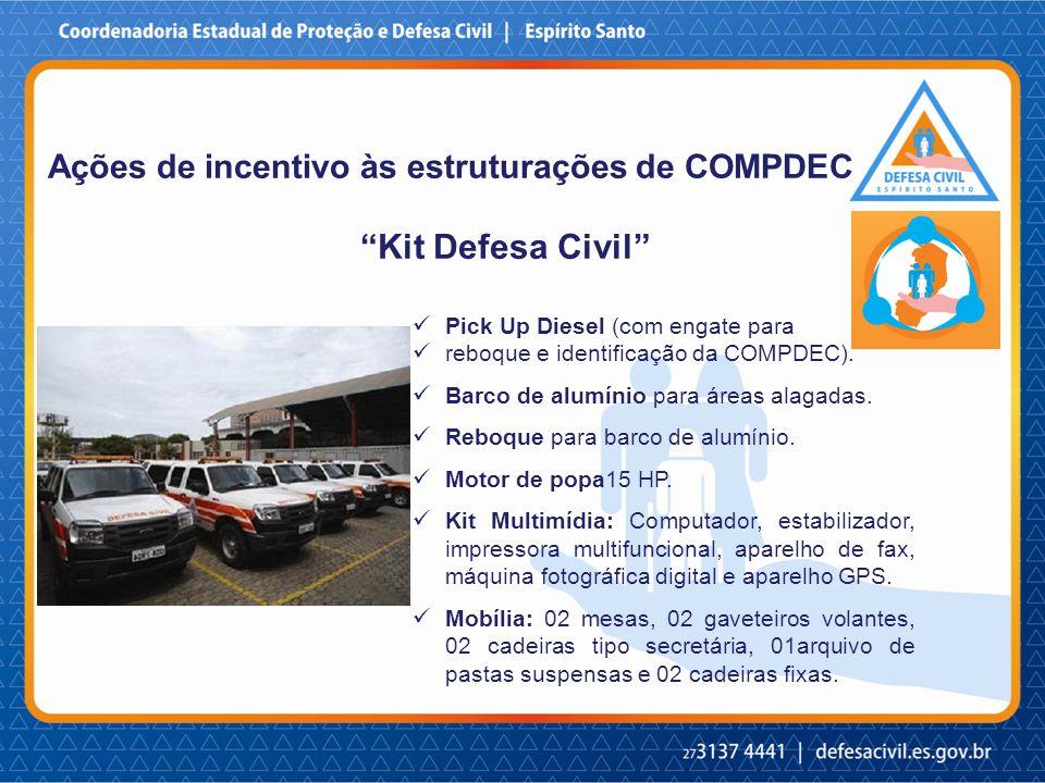Kit Defesa Civil Ações de incentivo às estruturações de COMPDEC