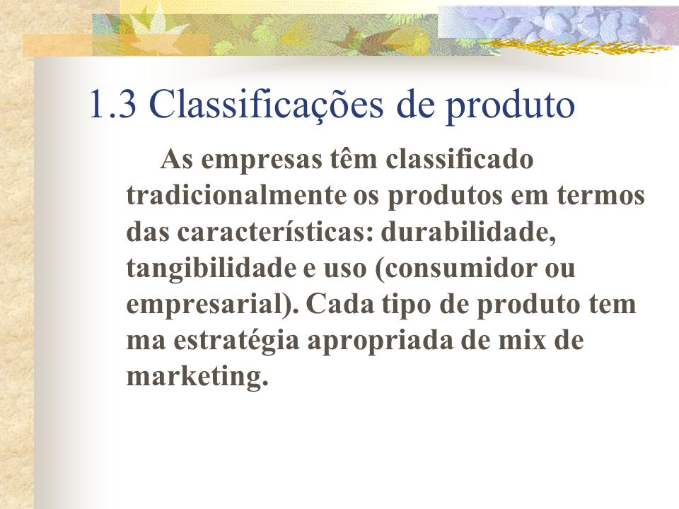 1.3 Classificações de produto
