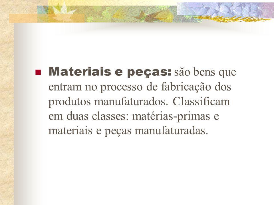 Materiais e peças: são bens que entram no processo de fabricação dos produtos manufaturados.