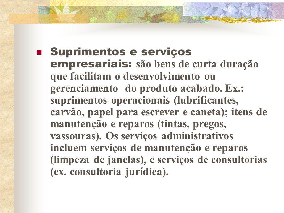 Suprimentos e serviços empresariais: são bens de curta duração que facilitam o desenvolvimento ou gerenciamento do produto acabado.