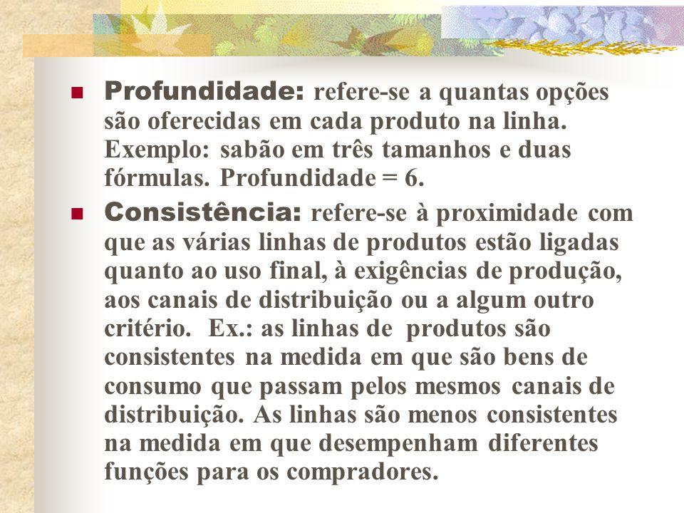 Profundidade: refere-se a quantas opções são oferecidas em cada produto na linha. Exemplo: sabão em três tamanhos e duas fórmulas. Profundidade = 6.