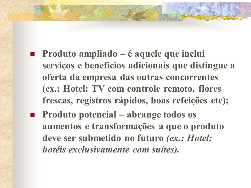 Produto ampliado – é aquele que inclui serviços e benefícios adicionais que distingue a oferta da empresa das outras concorrentes (ex.: Hotel: TV com controle remoto, flores frescas, registros rápidos, boas refeições etc);