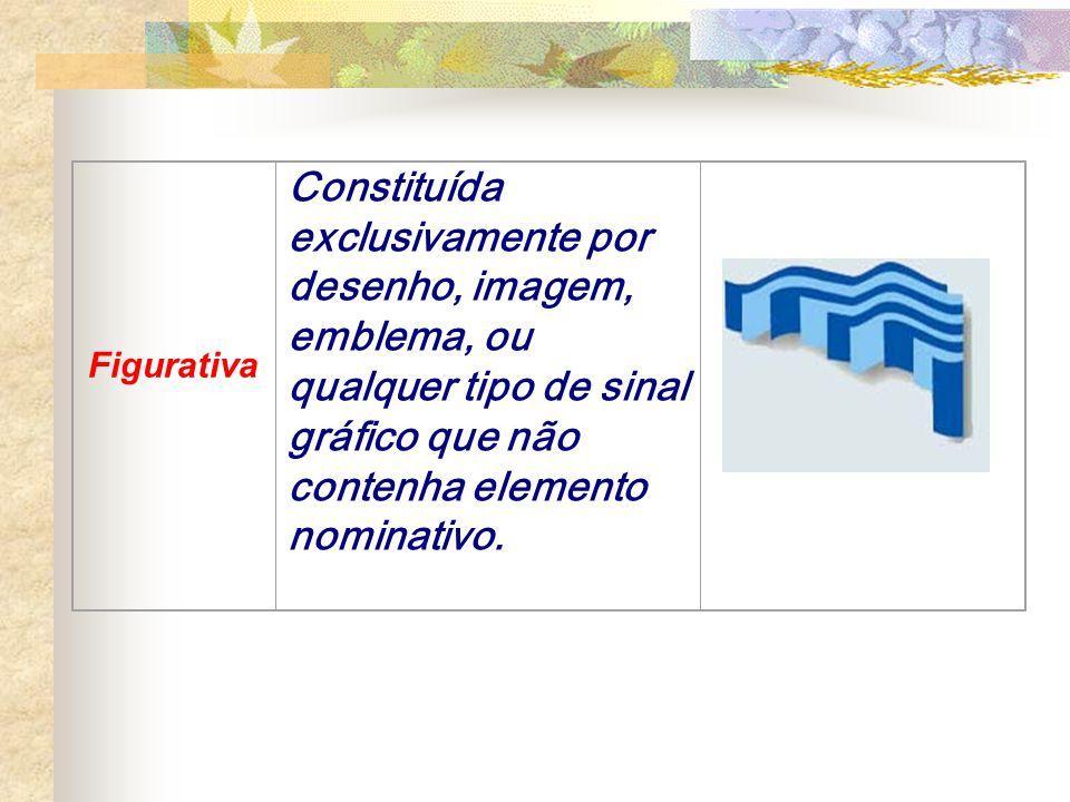 Figurativa Constituída exclusivamente por desenho, imagem, emblema, ou qualquer tipo de sinal gráfico que não contenha elemento nominativo.