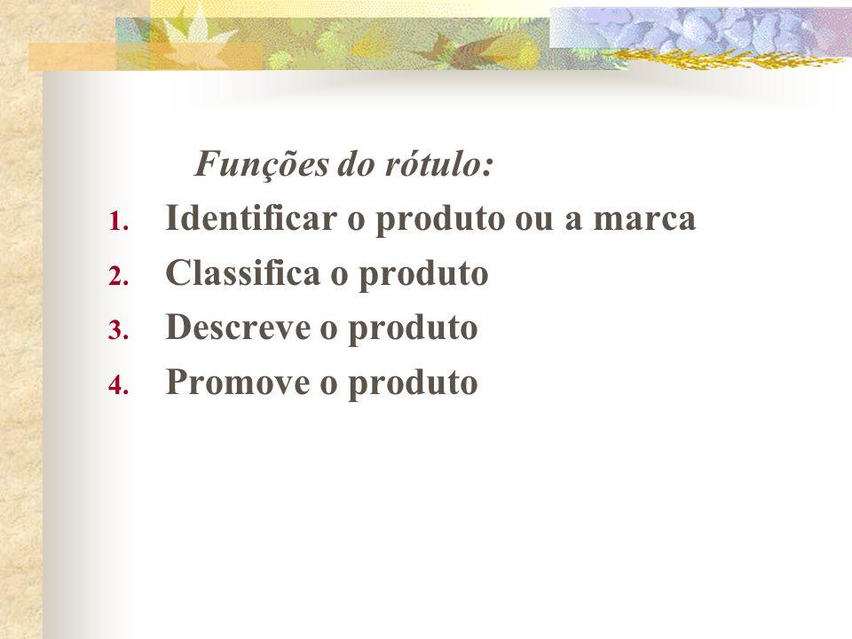 Funções do rótulo: Identificar o produto ou a marca.