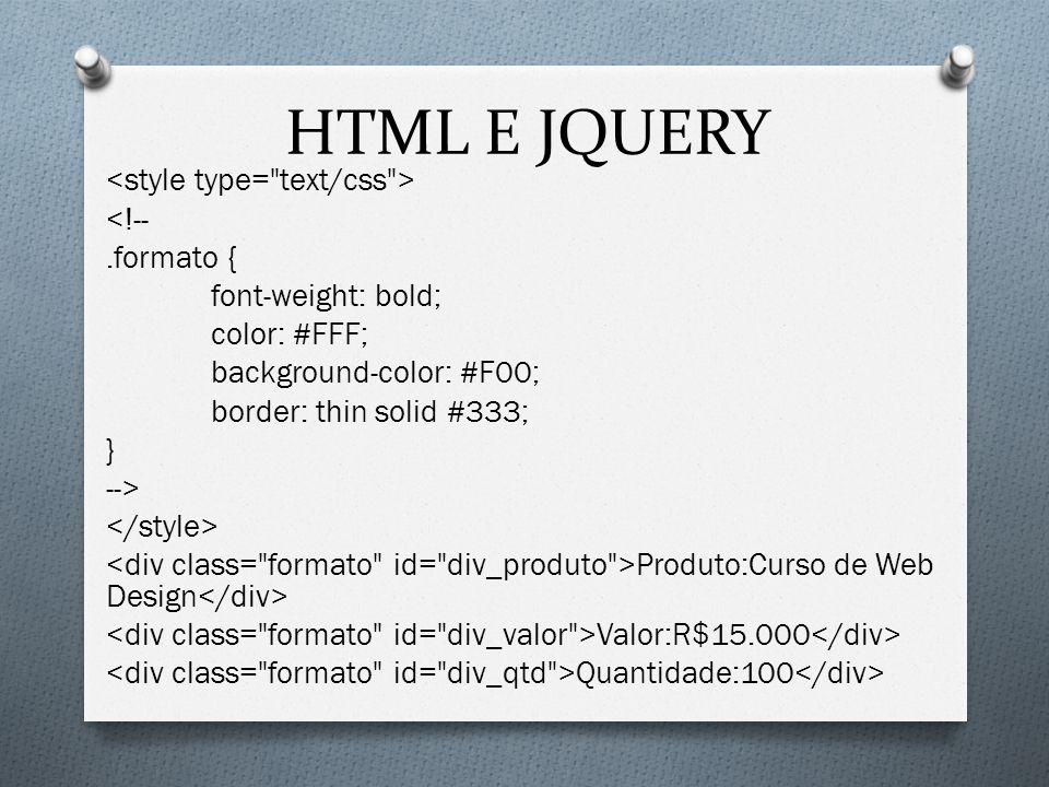 HTML E JQUERY
