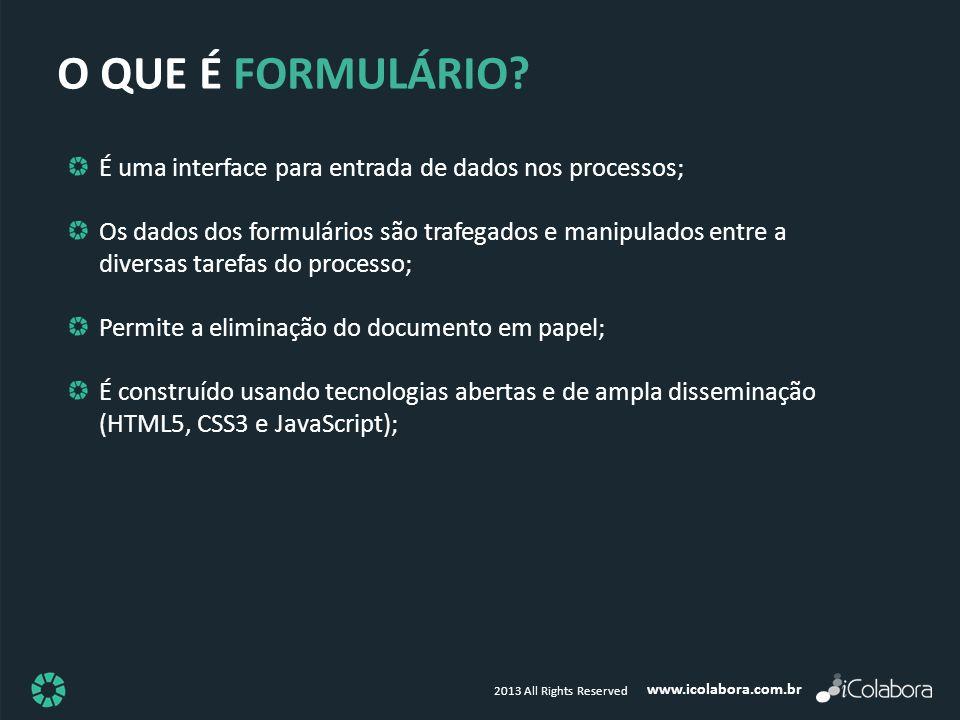 O QUE É FORMULÁRIO É uma interface para entrada de dados nos processos;