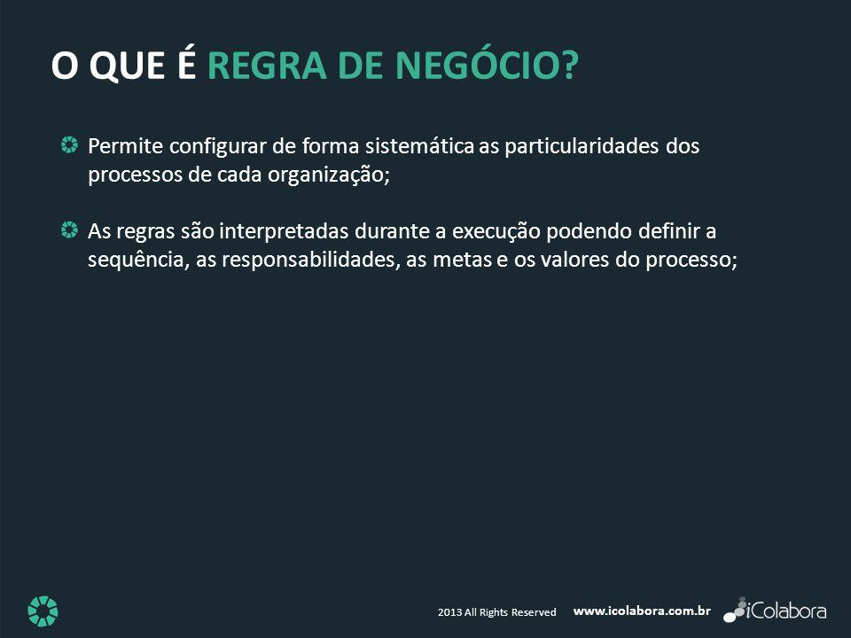 O QUE É REGRA DE NEGÓCIO Permite configurar de forma sistemática as particularidades dos processos de cada organização;