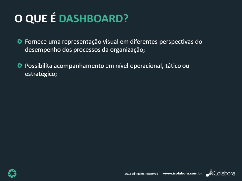 O QUE É DASHBOARD Fornece uma representação visual em diferentes perspectivas do desempenho dos processos da organização;