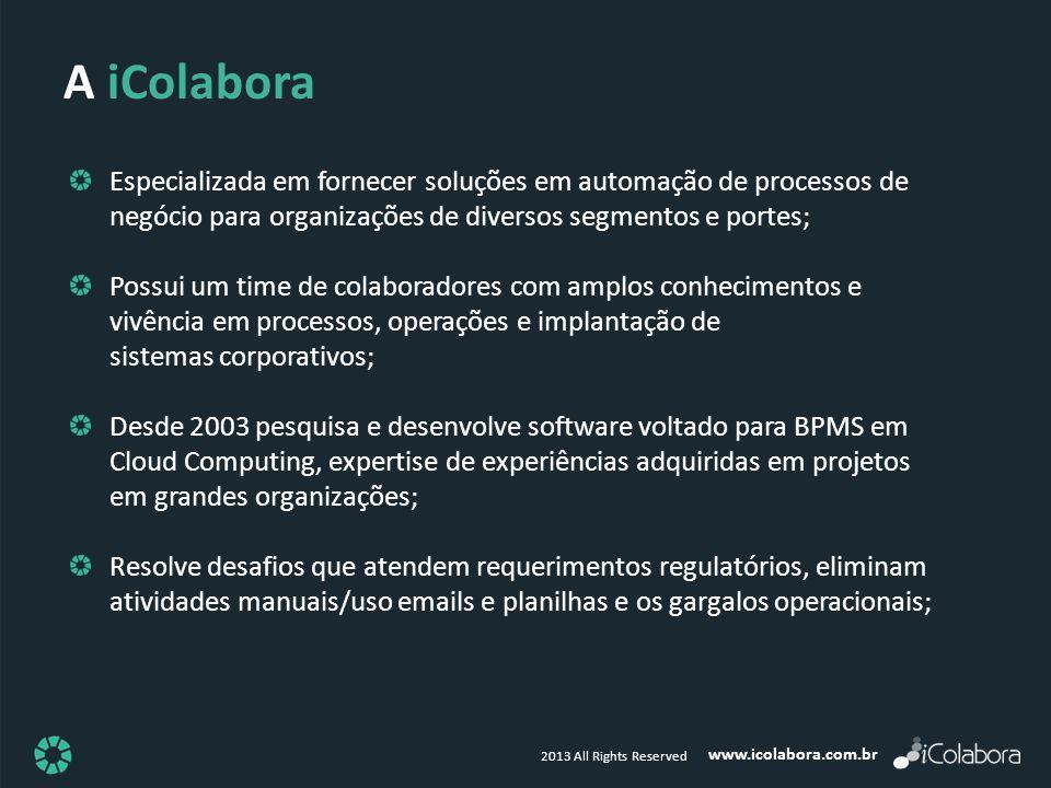A iColabora Especializada em fornecer soluções em automação de processos de negócio para organizações de diversos segmentos e portes;