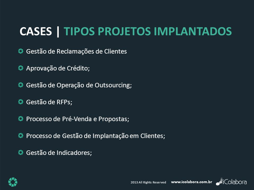cases | Tipos PROJETOS IMPLANTADOS