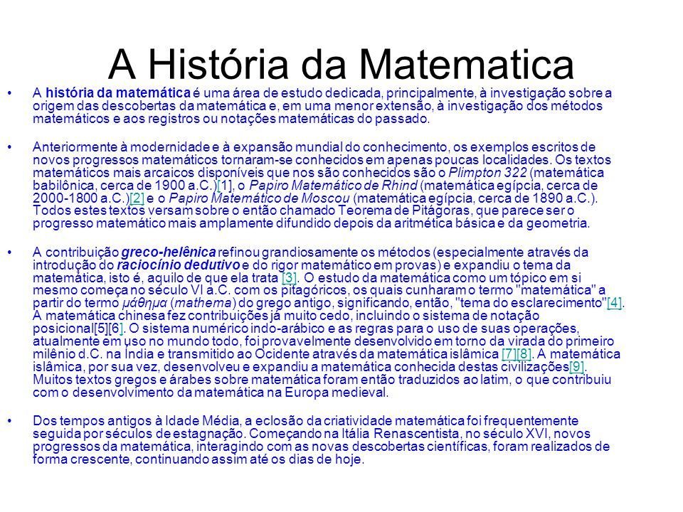 A História da Matematica