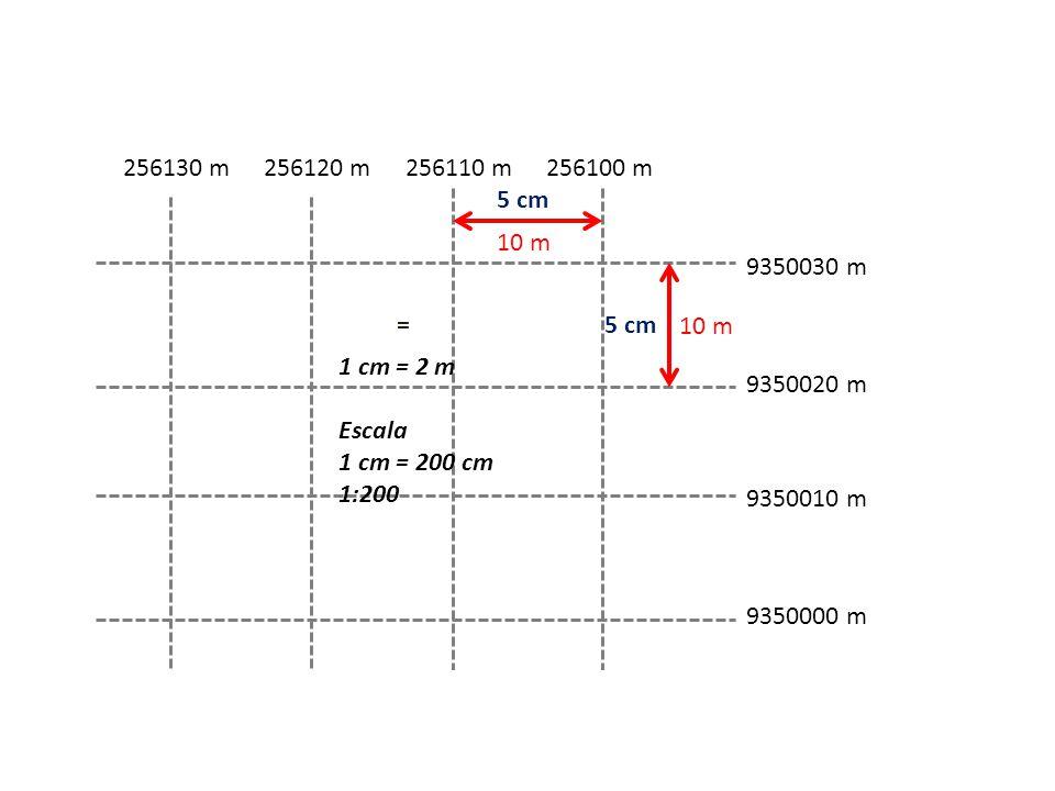256130 m 256120 m. 256110 m. 256100 m. 5 cm. 10 m. 9350030 m. = 5 cm. 10 m. 1 cm = 2 m. Escala.