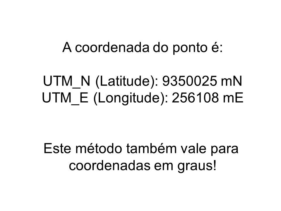 A coordenada do ponto é: UTM_N (Latitude): 9350025 mN