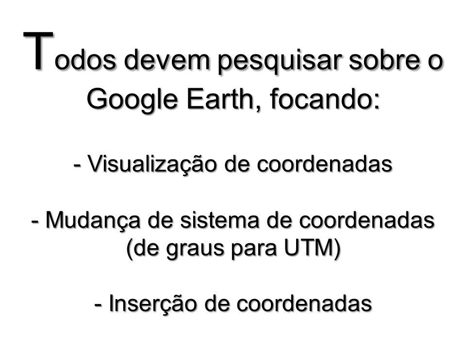 Todos devem pesquisar sobre o Google Earth, focando: