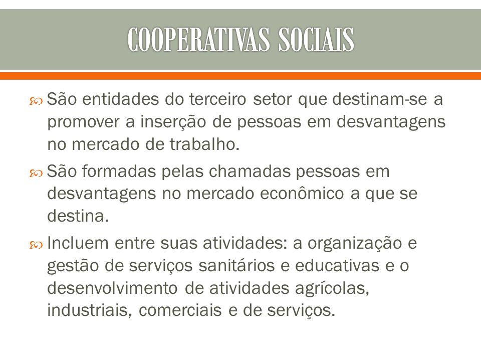 COOPERATIVAS SOCIAIS São entidades do terceiro setor que destinam-se a promover a inserção de pessoas em desvantagens no mercado de trabalho.