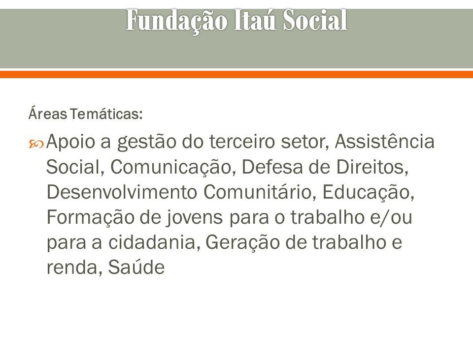 Fundação Itaú Social Áreas Temáticas:
