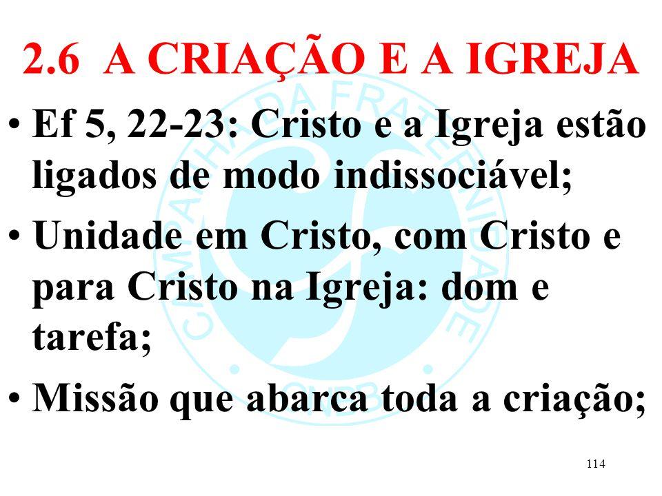 2.6 A CRIAÇÃO E A IGREJA Ef 5, 22-23: Cristo e a Igreja estão ligados de modo indissociável;