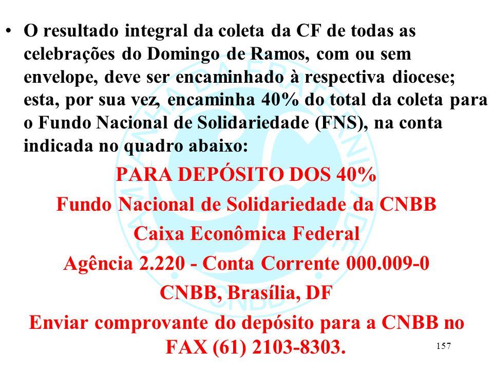 Fundo Nacional de Solidariedade da CNBB Caixa Econômica Federal