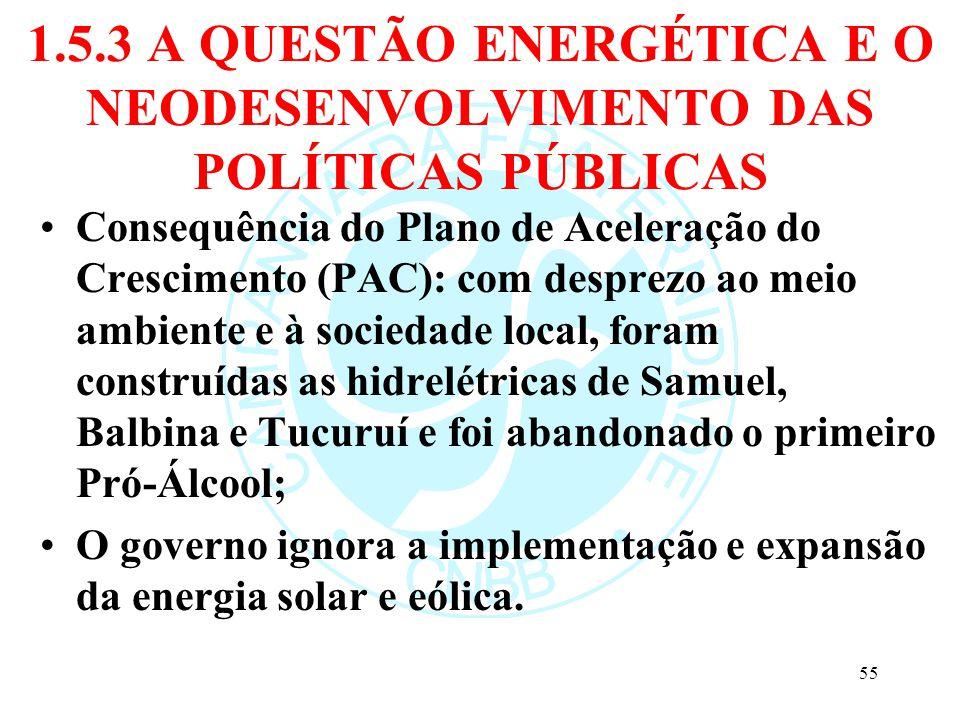 1.5.3 A QUESTÃO ENERGÉTICA E O NEODESENVOLVIMENTO DAS POLÍTICAS PÚBLICAS