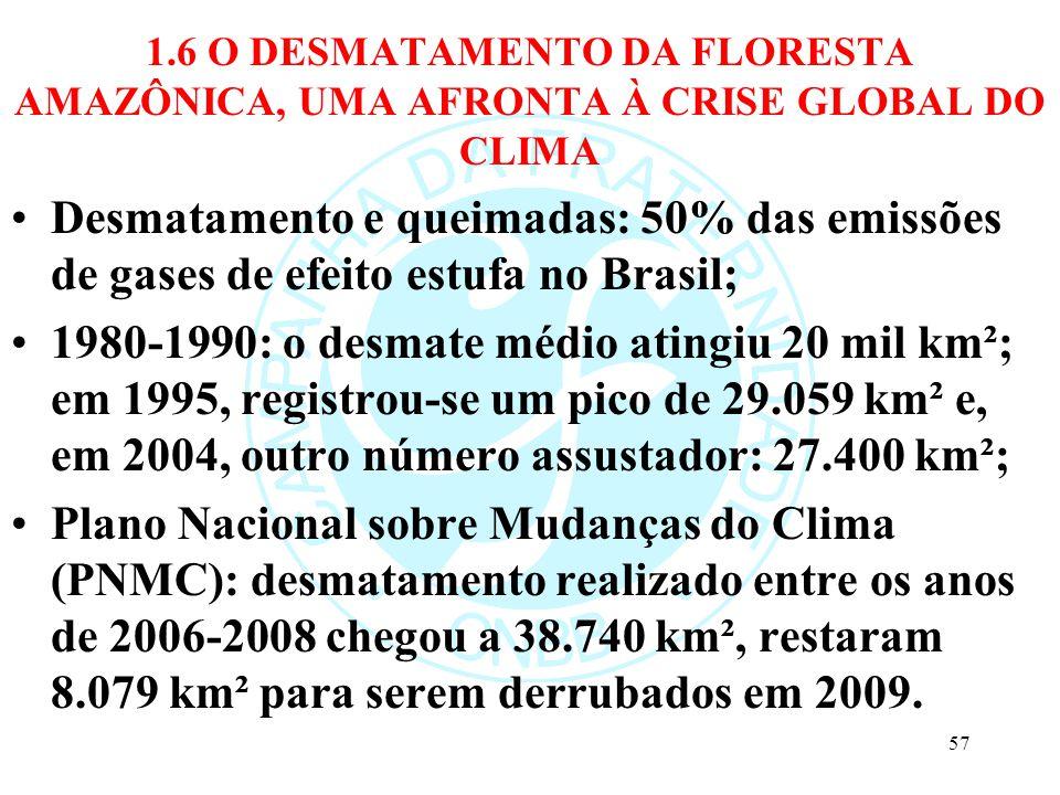 1.6 O DESMATAMENTO DA FLORESTA AMAZÔNICA, UMA AFRONTA À CRISE GLOBAL DO CLIMA