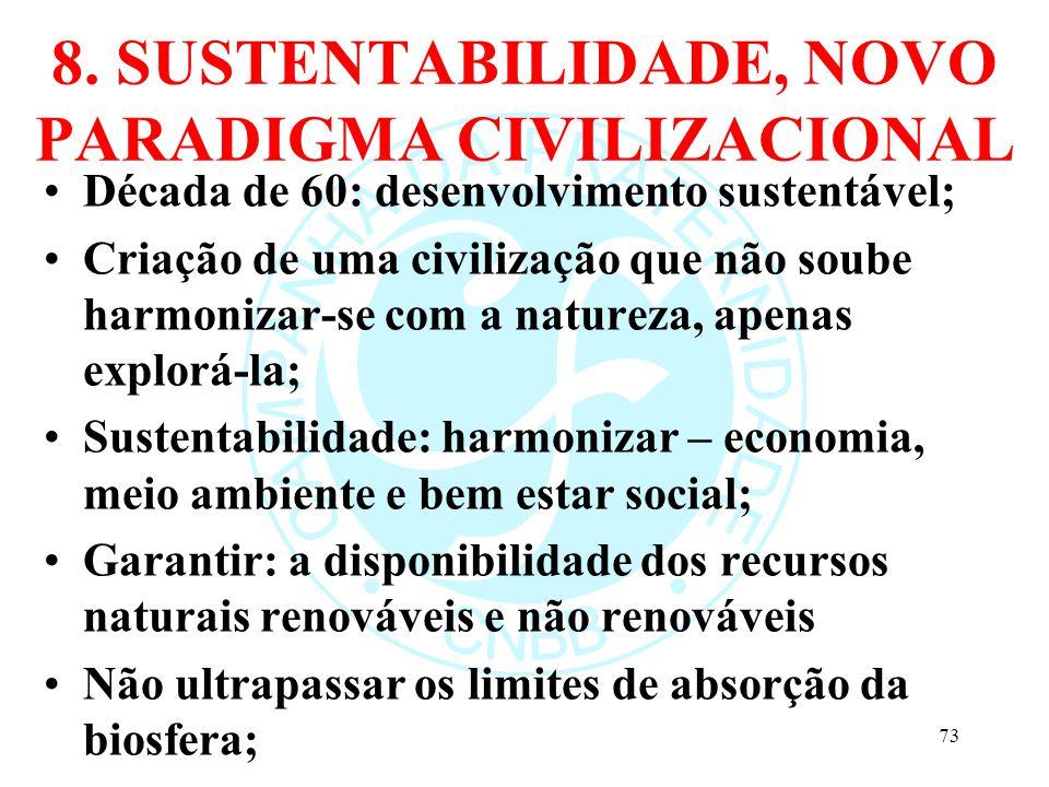 8. SUSTENTABILIDADE, NOVO PARADIGMA CIVILIZACIONAL