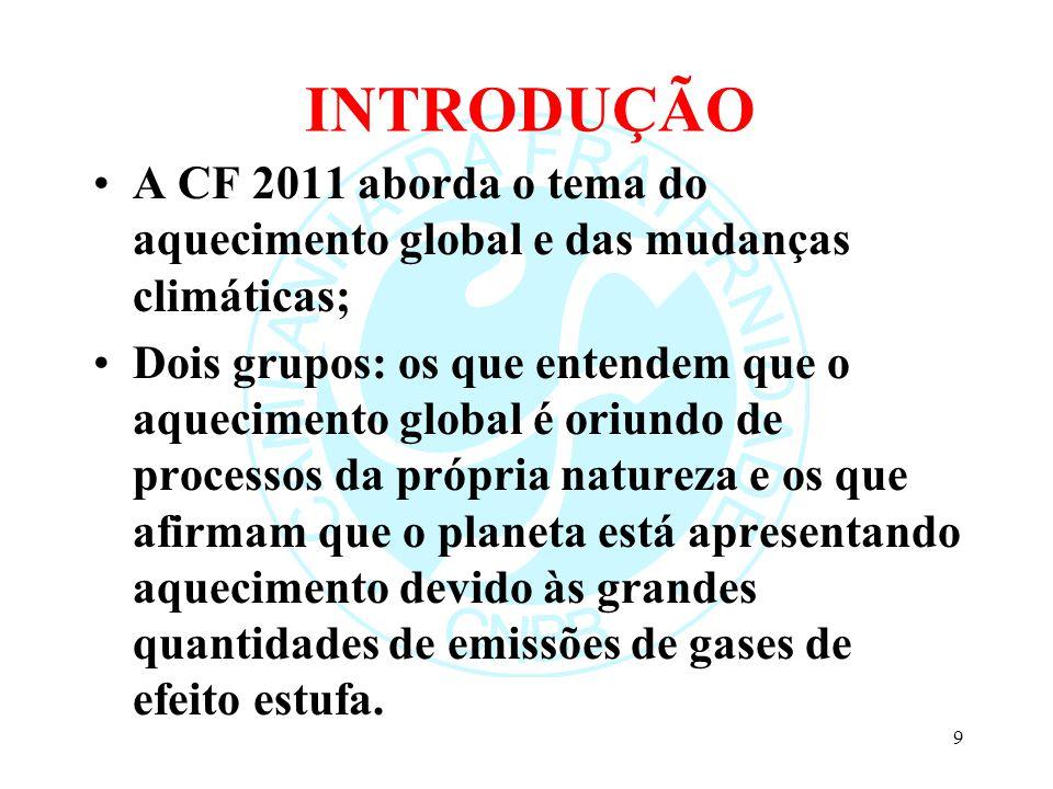 INTRODUÇÃO A CF 2011 aborda o tema do aquecimento global e das mudanças climáticas;