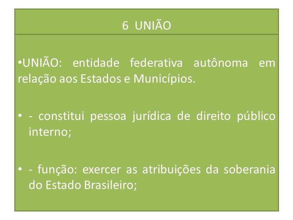 6 UNIÃO UNIÃO: entidade federativa autônoma em relação aos Estados e Municípios. - constitui pessoa jurídica de direito público interno;