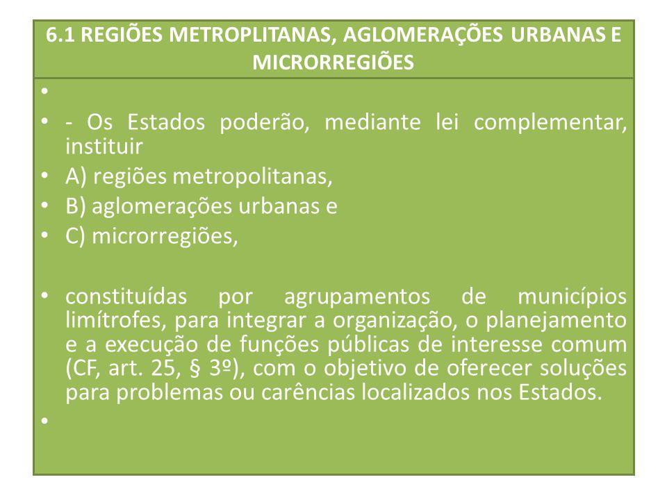 6.1 REGIÕES METROPLITANAS, AGLOMERAÇÕES URBANAS E MICRORREGIÕES