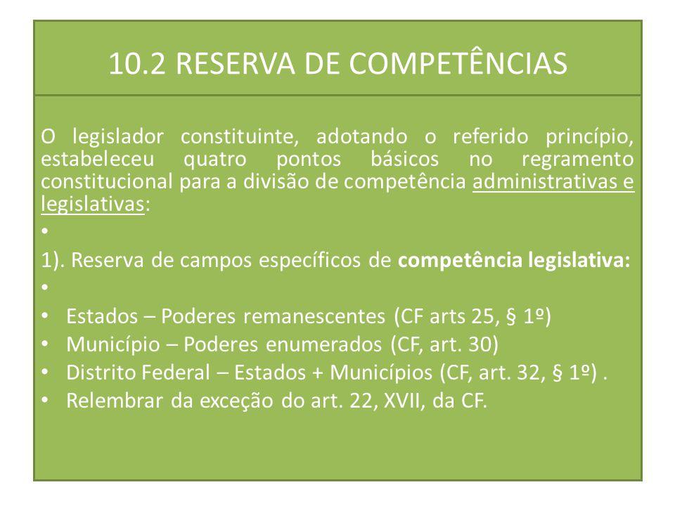 10.2 RESERVA DE COMPETÊNCIAS