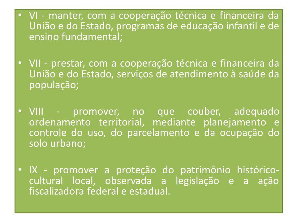 VI - manter, com a cooperação técnica e financeira da União e do Estado, programas de educação infantil e de ensino fundamental;