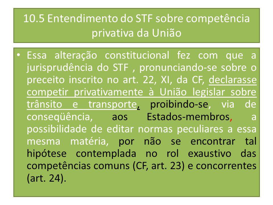 10.5 Entendimento do STF sobre competência privativa da União