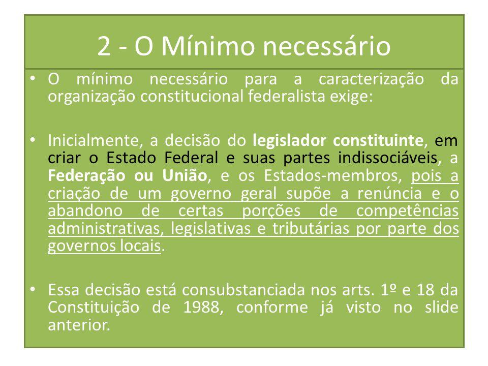 2 - O Mínimo necessário O mínimo necessário para a caracterização da organização constitucional federalista exige: