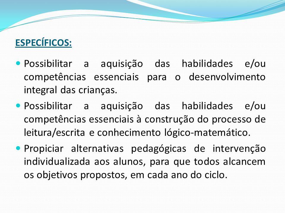 ESPECÍFICOS: Possibilitar a aquisição das habilidades e/ou competências essenciais para o desenvolvimento integral das crianças.